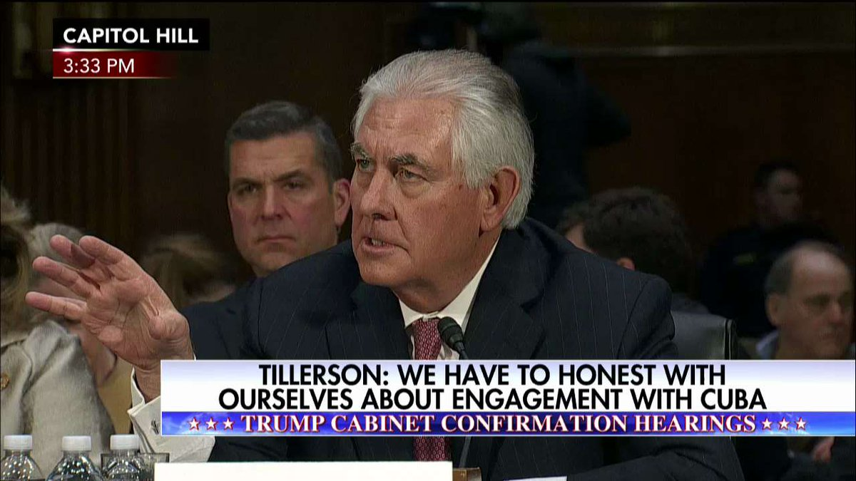 """Rex Tillerson """"I believe we live up to the agreements and we live up to the laws and we fully enforce them."""""""