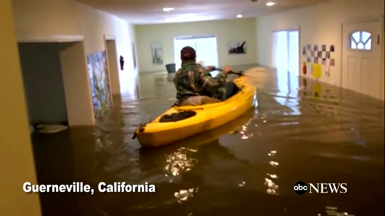 WATCH: Woman kayaks inside her own flooded house in Guerneville, California: https://t.co/lJFlsJBeYt https://t.co/ZnADp0qz87