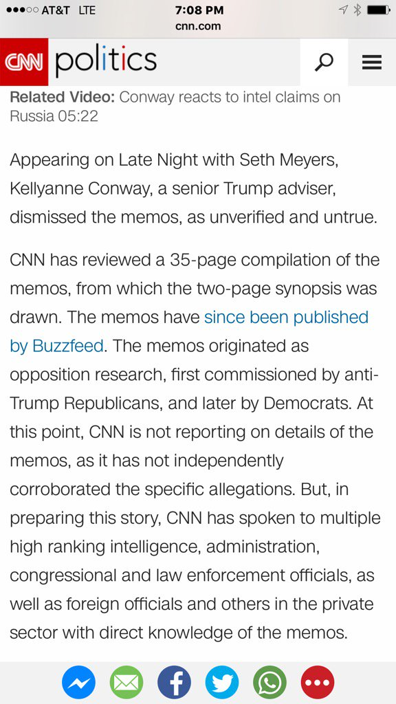Fact-check Ahead of my spirited interview with @AC360, here is @CNN report linking AND discussing BuzzFeed report.