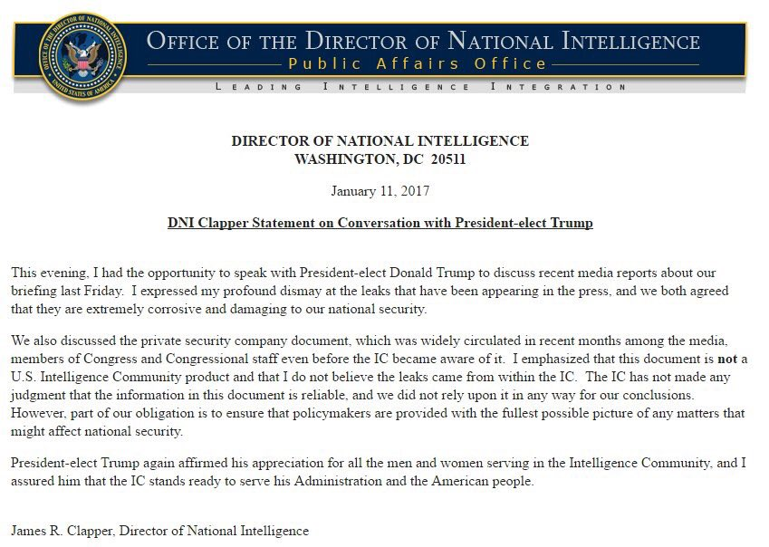 Director of National Intelligence James Clapper tells Trump that the CNN-Buzzfeed report was garbage!