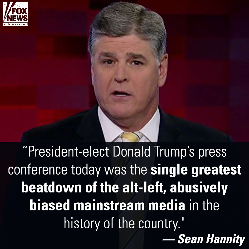 ".@seanhannity praises @realDonaldTrump for ""beatdown"" of mainstream media at presser: https://t.co/cLMLvz3tNG https://t.co/VnIab8JREr"