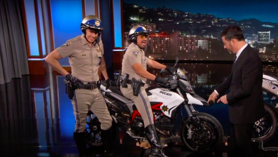 #CHiPs trailer debuts on 'Jimmy Kimmel Live' https://t.co/iSmJjBLCc1 https://t.co/ylUP3nC8pX