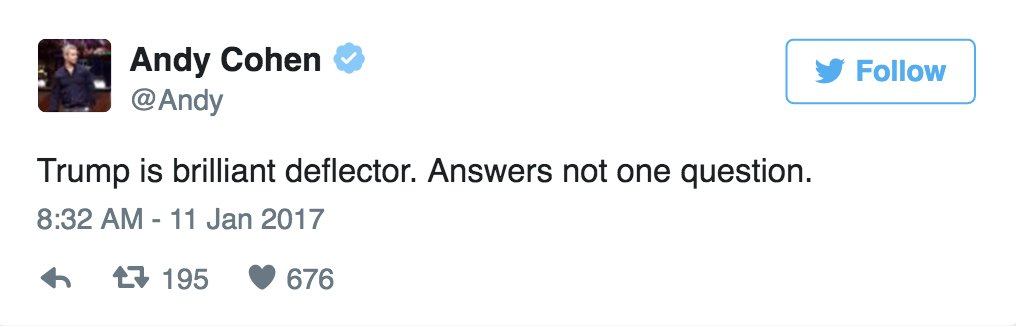 ICYMI: How Hollywood reacted to Trump's first press conference as president-elect https://t.co/HMaYUwV8fJ https://t.co/4isxBYD3Pb