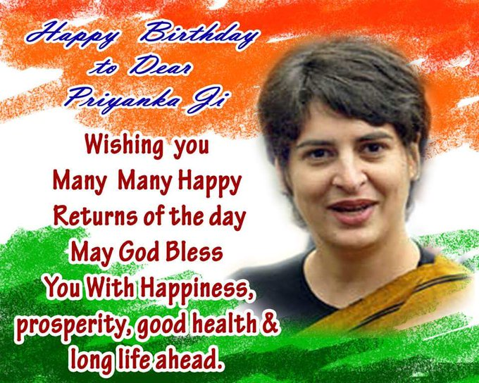 Wishing  a very happy birthday to hon.Priyanka Gandhi ji