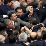 Politicians trade blows in Turkish parliament in debate over president's powers