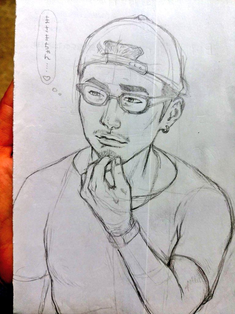 よっつん👓落書き~✏なかなかわし好みのヒゲメンに描けた😝💛久々に絵書いたから、どこに線を書いていいかどうやって描いたらい