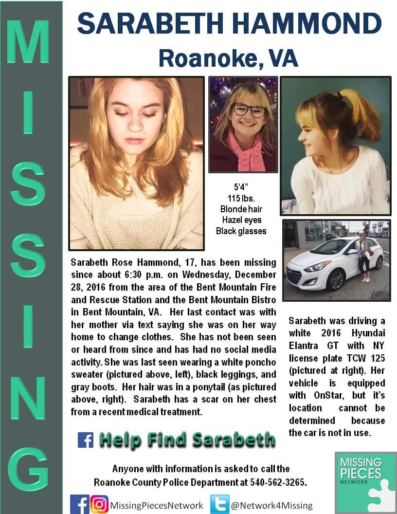 Sarahbeth Hammond is still missing. Please share! https://t.co/dW9y4TzWx4