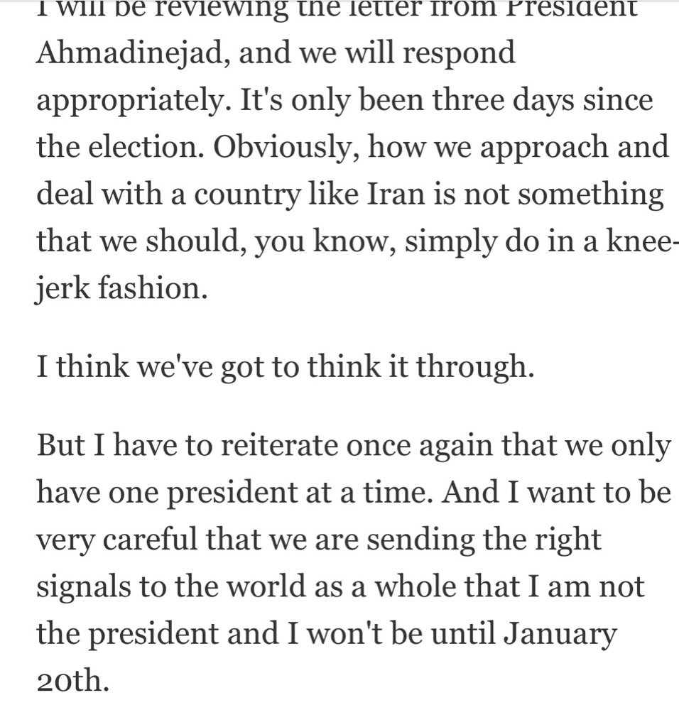 President-elect Obama held his first press conference Nov. 7, 2008. Here's something he said. https://t.co/H2FyK8ozsG