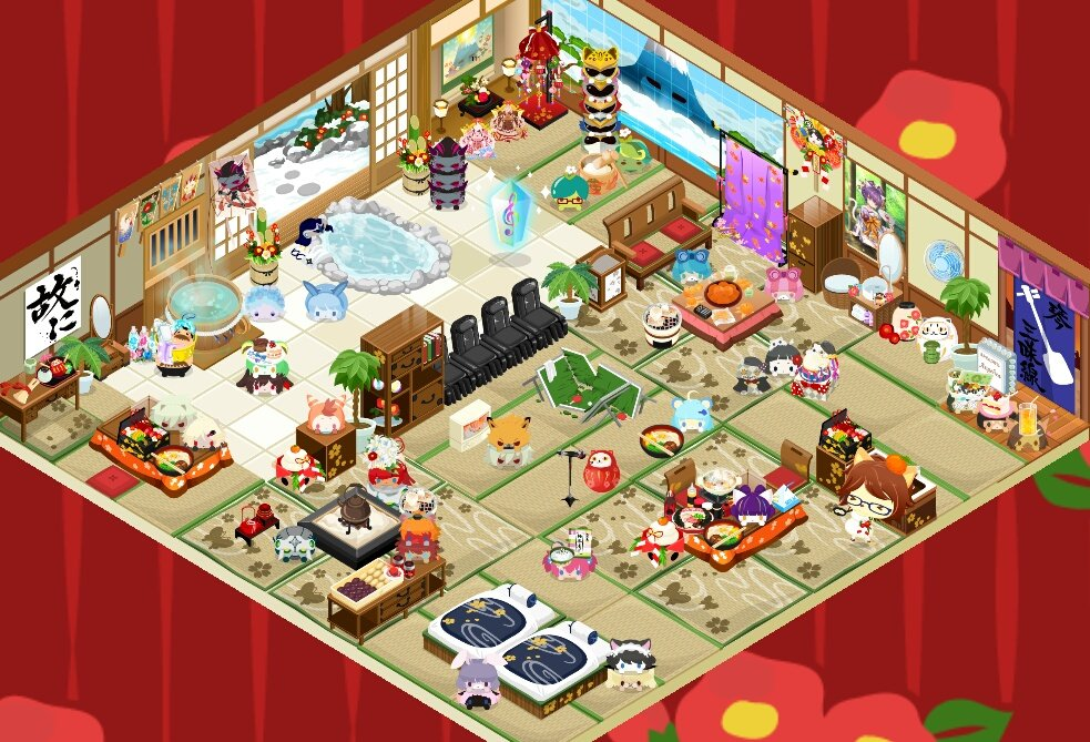 お正月用に、お風呂屋さんを改装しました!🎍和風家具が増えたから、華やかになったね!🙌✨気がついたら2時間くらいずっとやっ