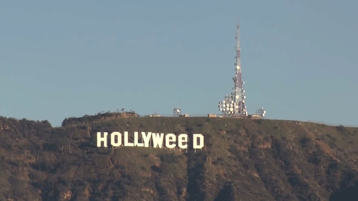 """The iconic Hollywood sign was mysteriously altered overnight and now reads """"Hollyweed."""" https://t.co/lOPyVwuXiF https://t.co/zlJn5lhcv9"""