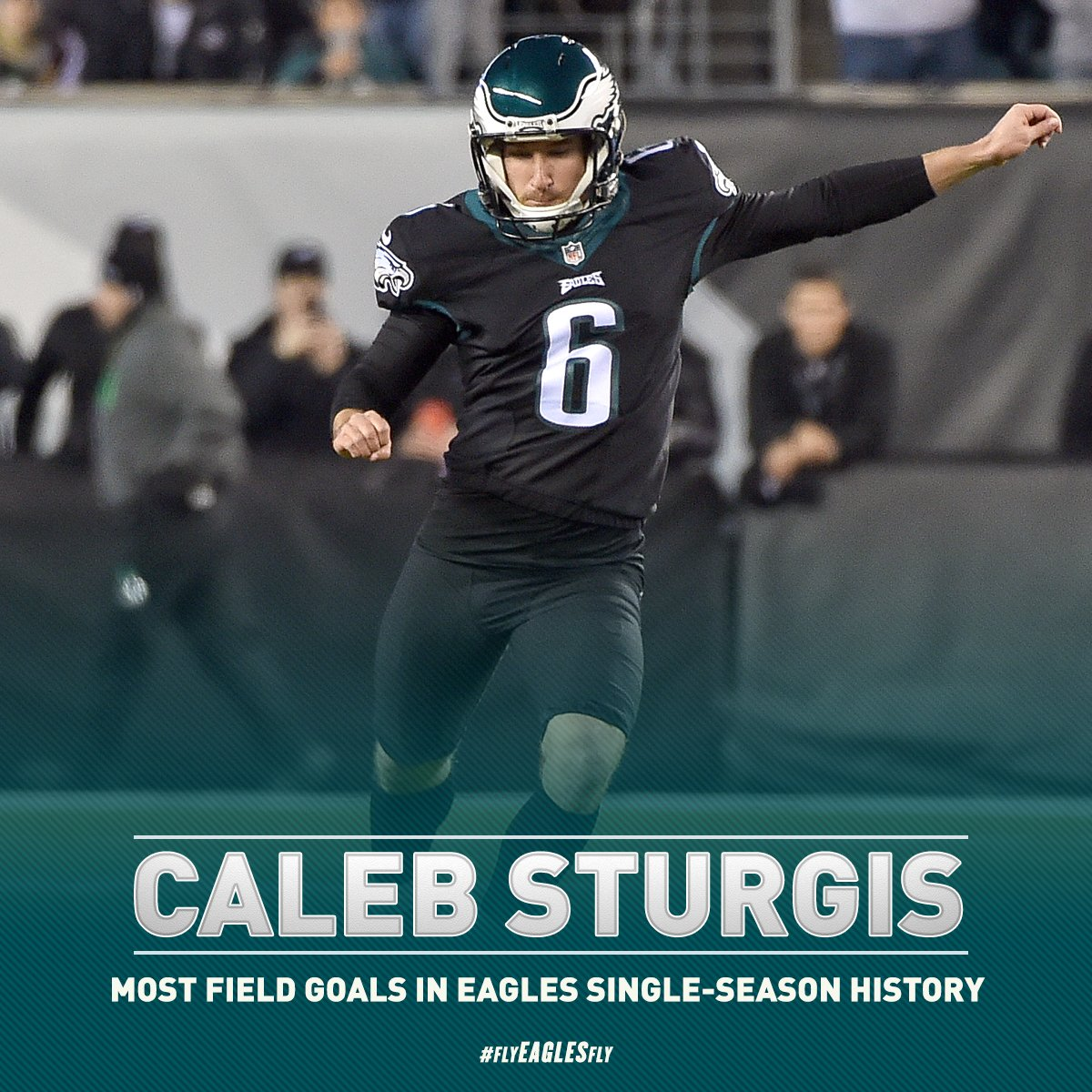 With that kick, Caleb Sturgis has set a new #Eagles single-season record for field goals.  #FlyEaglesFly https://t.co/v52zhC3qM9