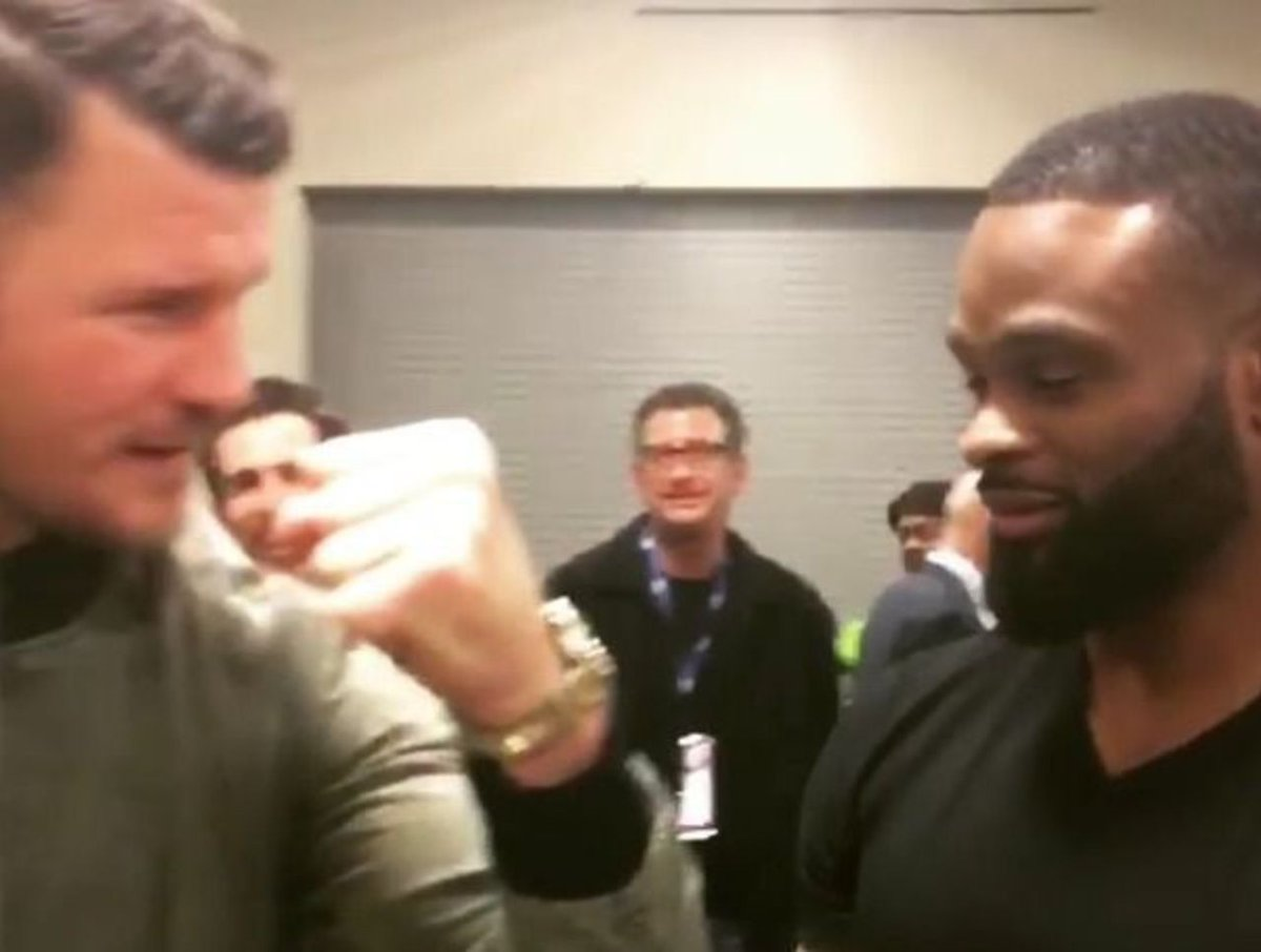 UFC champions Bisping, Woodley playfully agree to fight at catchweight https://t.co/yhkrGbNhaT https://t.co/hNixdp83NN