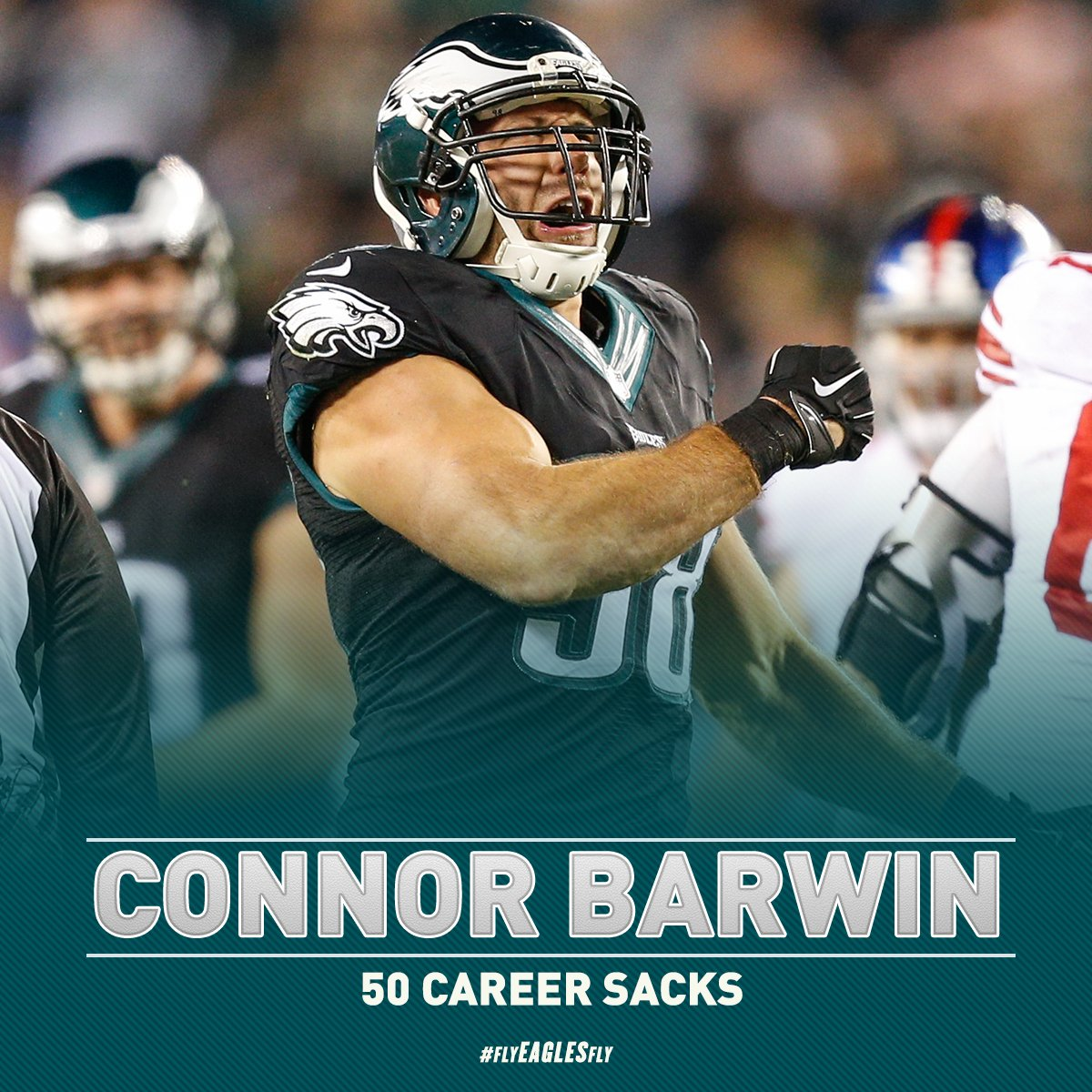 With that sack, @ConnorBarwin98 has surpassed 50 sacks for his NFL career.  #FlyEaglesFly https://t.co/MESIzGRLg8