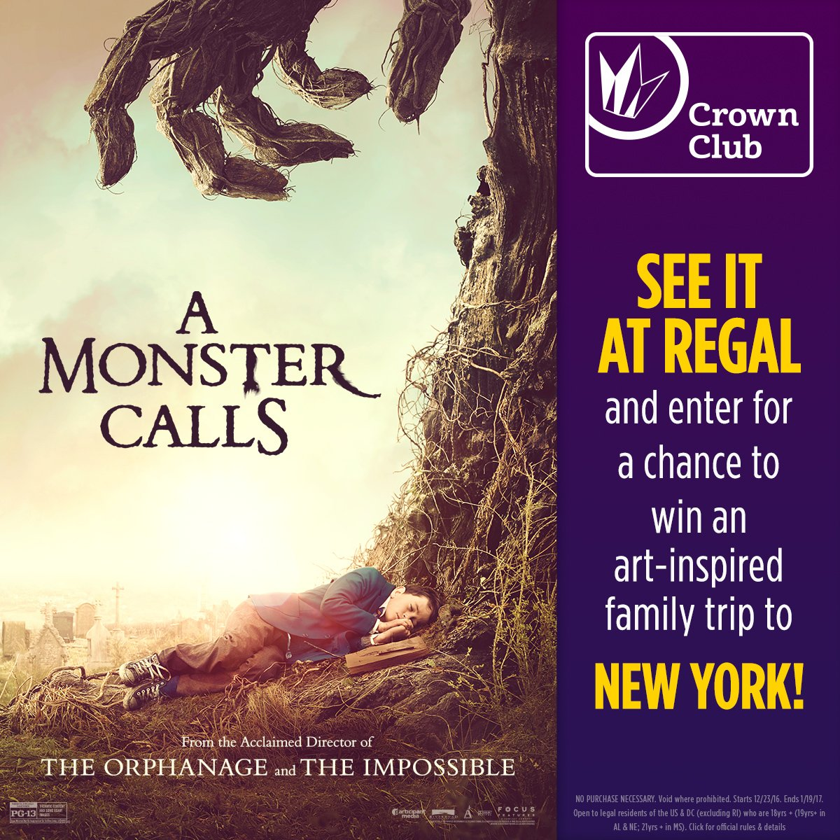 See @amonstercalls at Regal & be entered to win a family trip to New York! Official rules: https://t.co/Dmefw9CgXu https://t.co/oGxot3PiHb