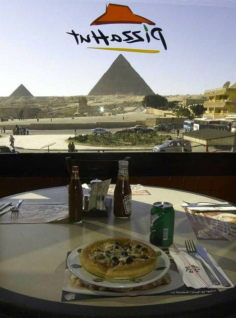Immediately opposite the main ticket gates to Giza's Great Pyramid enclosure, you can find both Pizza Hut and KFC. https://t.co/gpTyRmMvvI