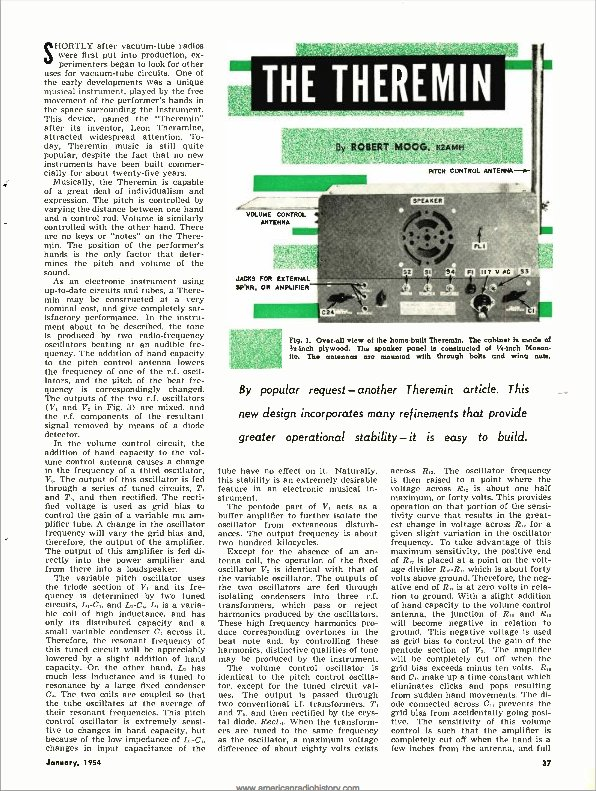"This month in 1954, #BobMoog published his first article ""The #Theremin"" in Radio & Television News. #musichistory https://t.co/YZoV0UCPak"