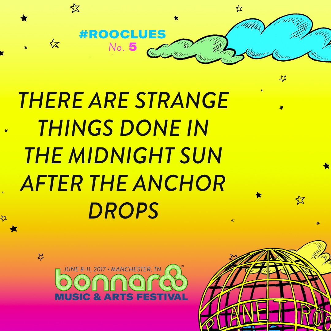 Time for #Rooclues #5! Check our snap story for a hint from Roofus! #Bonnaroo https://t.co/JARwNF2y8f