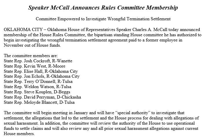 Speaker McCall Announces House Rules Committee That Will Investigate  Wrongful Termination Settlement: