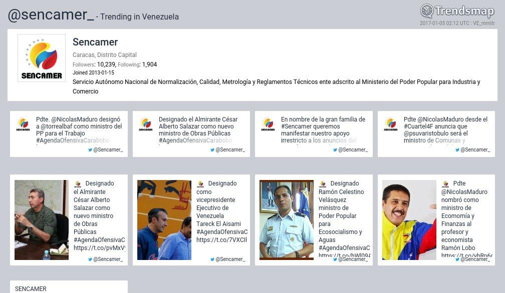 Sencamer, @sencamer_ es ahora una tendencia en Venezuela  https://t.co/BuAfFyliAv https://t.co/9t8ETn0viD