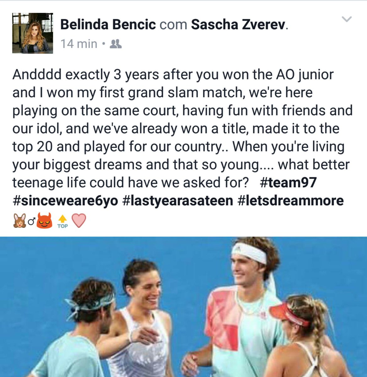 Very cute tribute from Bencic to Sascha on Facebook ❤️ https://t.co/5uO9viYZ8v