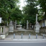 浦和鎮座の調神社。境内入口、狛犬の代わりに兎がいたり、境内各所にも兎がいたりと、珍しい神社。「浦和の調ちゃん」の舞台との