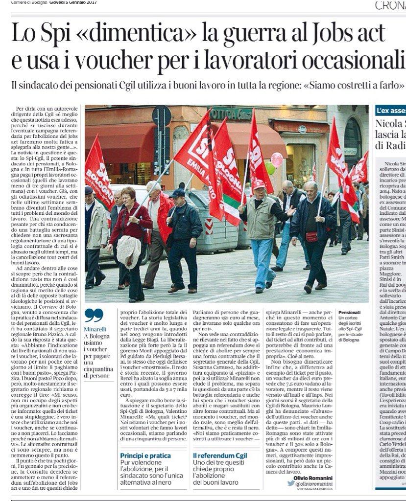 A Bologna lo Spi-Cgil usa i voucher/pizzini per i lavoratori occasionali (dal Corriere di Bologna) https://t.co/efIhxA7pum