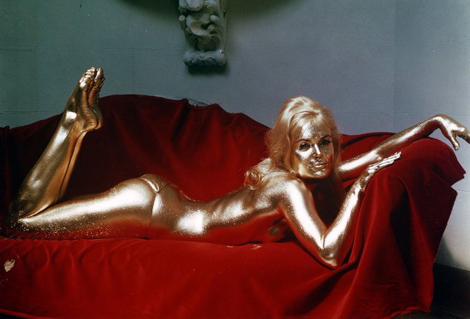 """He likes to win\"". Happy 80th birthday to the original golden girl, Shirley Eaton!"