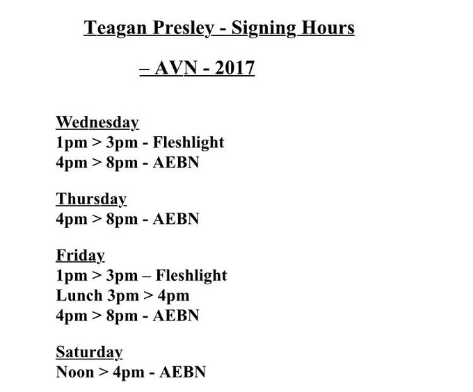 My signing hours for the upcoming @AEexpo  #teaganpresley #vegas https://t.co/WvtCCTUHAb