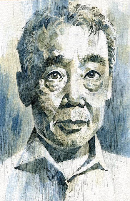 Happy birthday, Haruki Murakami! Here\s a drawing from 2015. Pencil and watercolour.