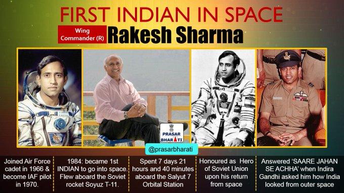 Prasarbharati: Happy Birthday Rakesh Sharma !! The First Indian to travel in Space, Ashok Chakra