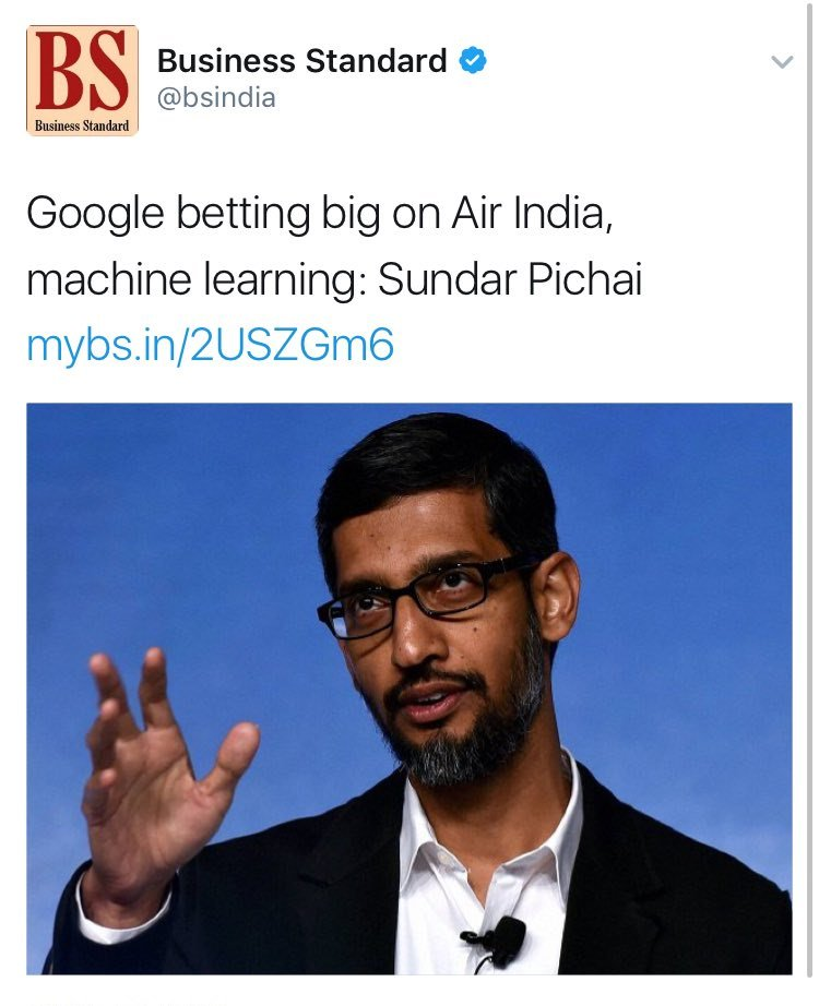 If Business Standard can interpret AI as Air India, then I know another way we can interpret BS. https://t.co/kILLF5tB4Y