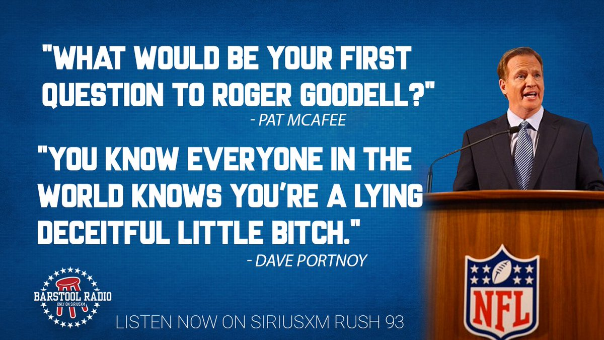What would @stoolpresidente's first question to @nflcommish be? https://t.co/TwSl8d67tW
