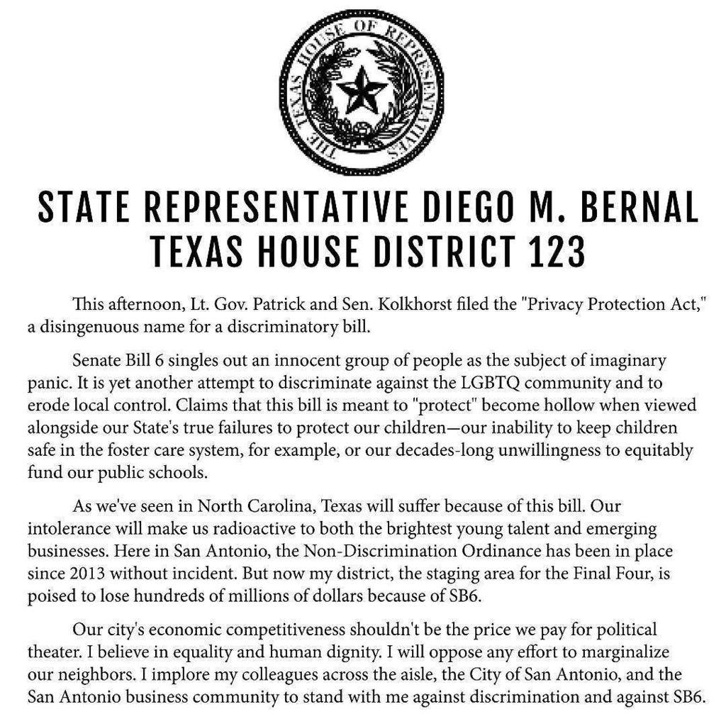 "Here's our statement on SB6, aka ""The Bathroom Bill."" https://t.co/5Yf7ymZrAu"