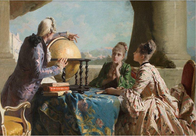 Eleuterio Pagliano ( 5 maggio 1826 –  5 gennaio 1903) pittore italiano_La_lezione_di_geografia https://t.co/h9fAkPrQZH