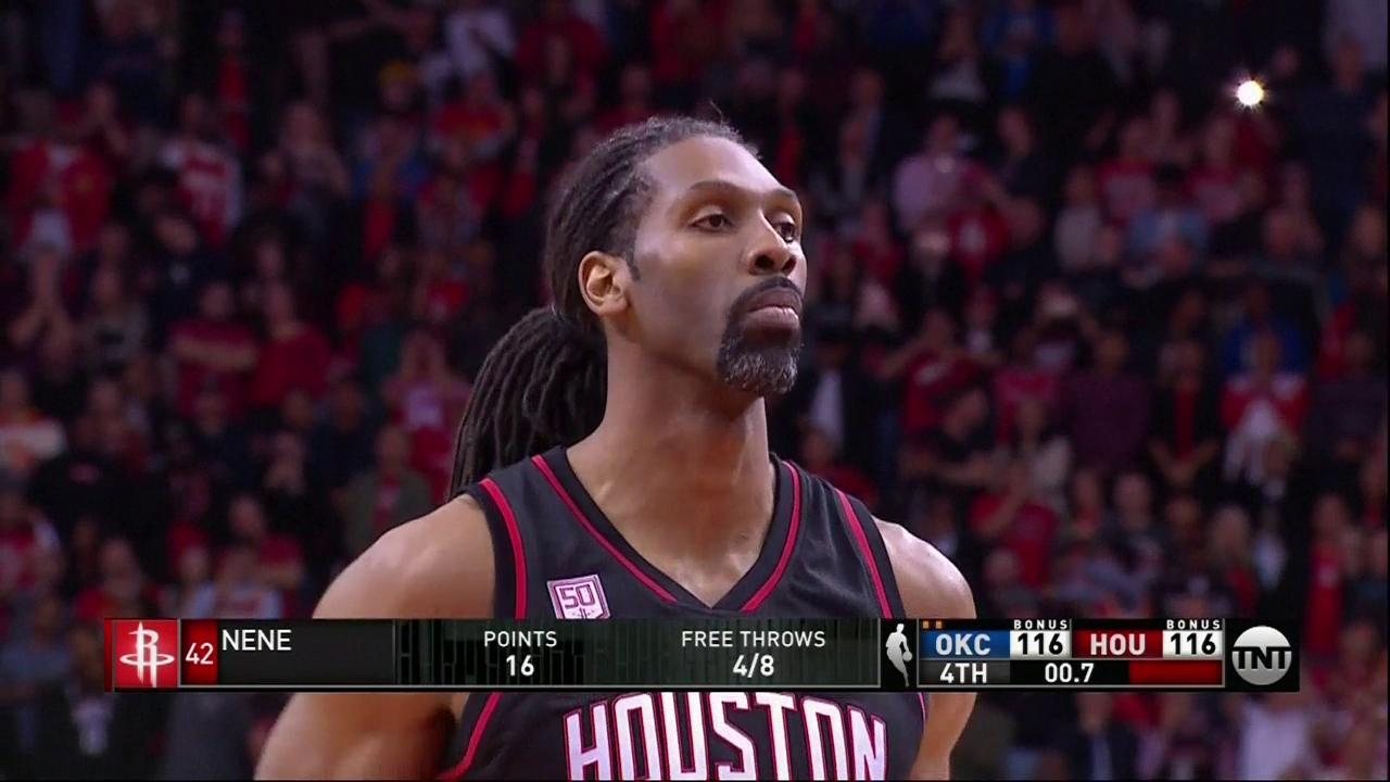 Nene sinks both free throws after getting fouled.   0.7 seconds left. @HoustonRockets up 118-116. @okcthunder ball. https://t.co/EnMZlklECS