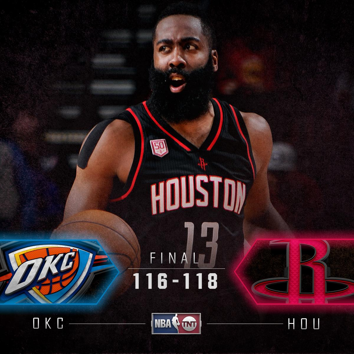 The Beard posts 26 Pts, 12 Ast and 8 Reb as the @HoustonRockets hold off Russell Westbrook and the OKC Thunder! https://t.co/wGumQWoZkt