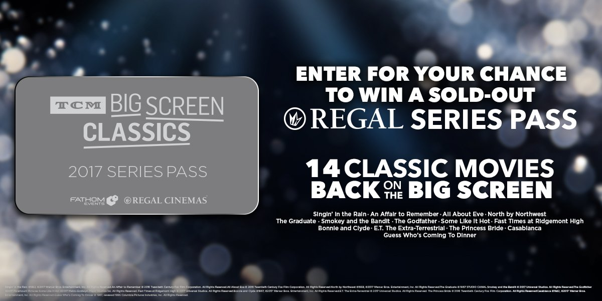 FOLLOW us and RT for a chance to win your own sold-out Regal TCM Big Screen Classics 2017 Series Pass! #giveaway https://t.co/TSYrwXHU3U