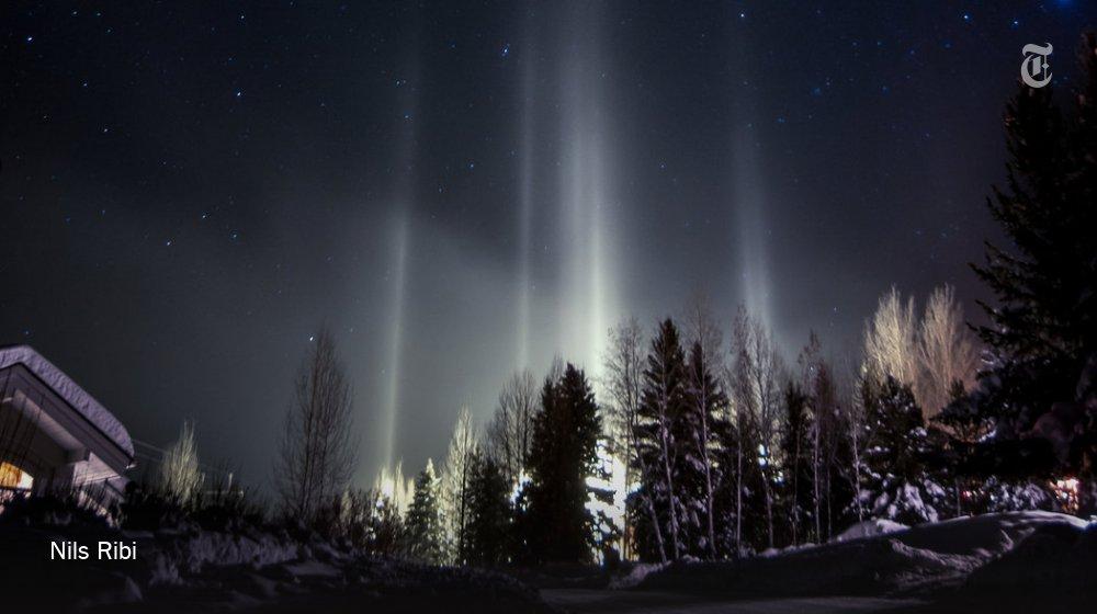 Light pillars, a million-mirror optical illusion on winter nights