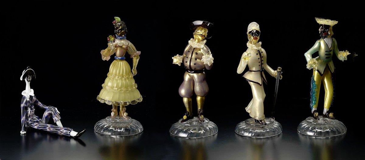 仮面祭企画展:プリマヴェーラ~春を彩るヴェネチアン・グラス~カーニヴァルなどで上演された仮面喜劇の登場人物のガラス人形な
