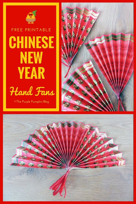 Year of the Rooster Free Printable Paper Hand Fans ChineseNewYear Freebies Crafts