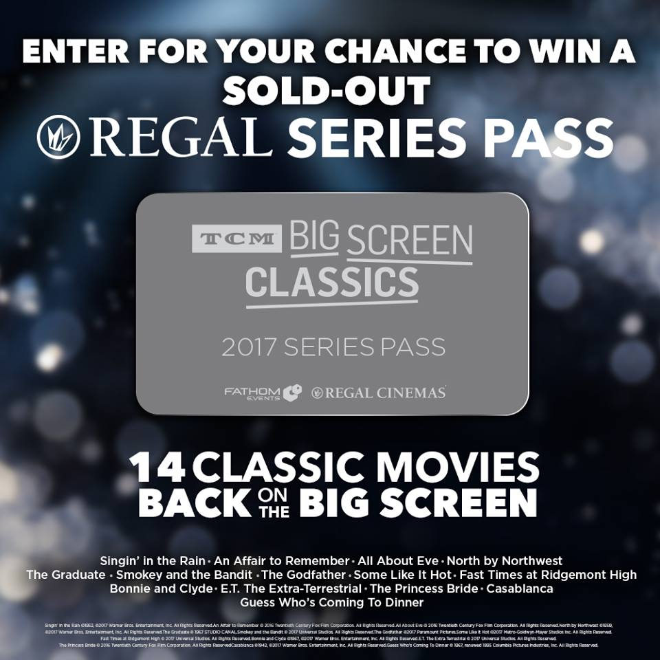 FOLLOW us and RT for a chance to win your own sold-out Regal TCM Big Screen Classics 2017 Series Pass! #giveaway https://t.co/NYpBwxjrzY
