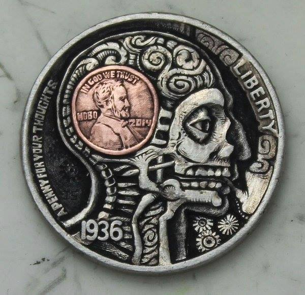 """""""Penny For Your Thoughts"""" Hobo Nickel by John Schipp. via @wunderkamercast (check her out for more awesome stuff!) https://t.co/JDJ57rmp3B"""