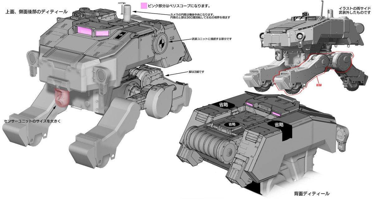 大分前に描いた鉄血のオルフェンズのモビルワーカー(自分的な解釈)、上面、背面詳細イラストです。(参考画像モザイク)ミディ