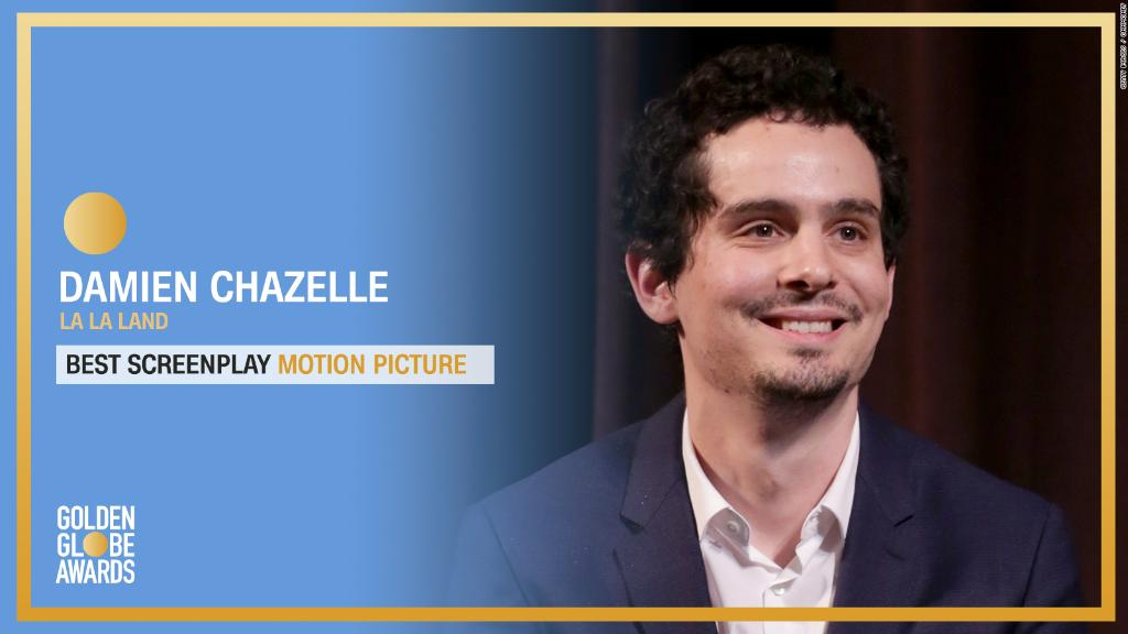 Damien Chazelle of #LaLaLand wins Best Screenplay - Motion Picture. https://t.co/gYzSBRriKC #GoldenGlobes https://t.co/RVkC6BoCbg