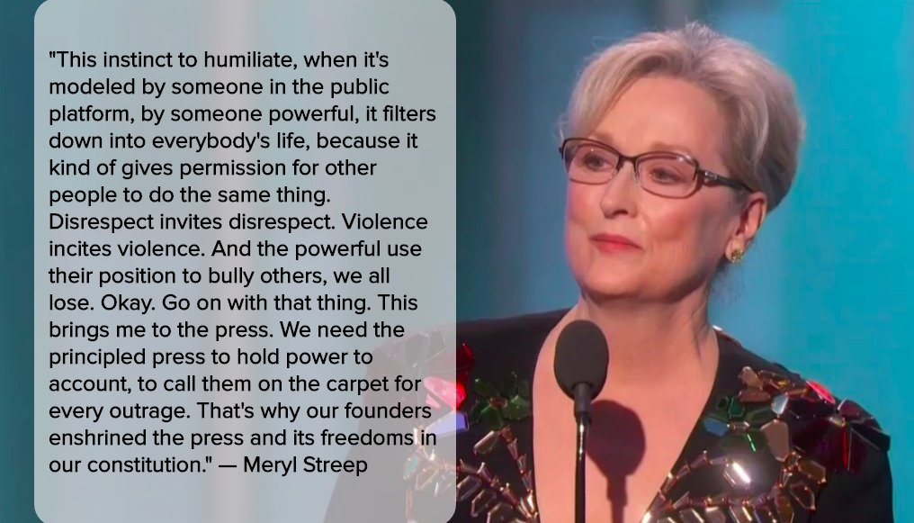 Meryl Streep lays it on the line #GoldenGlobes https://t.co/NhUZFsnaT2