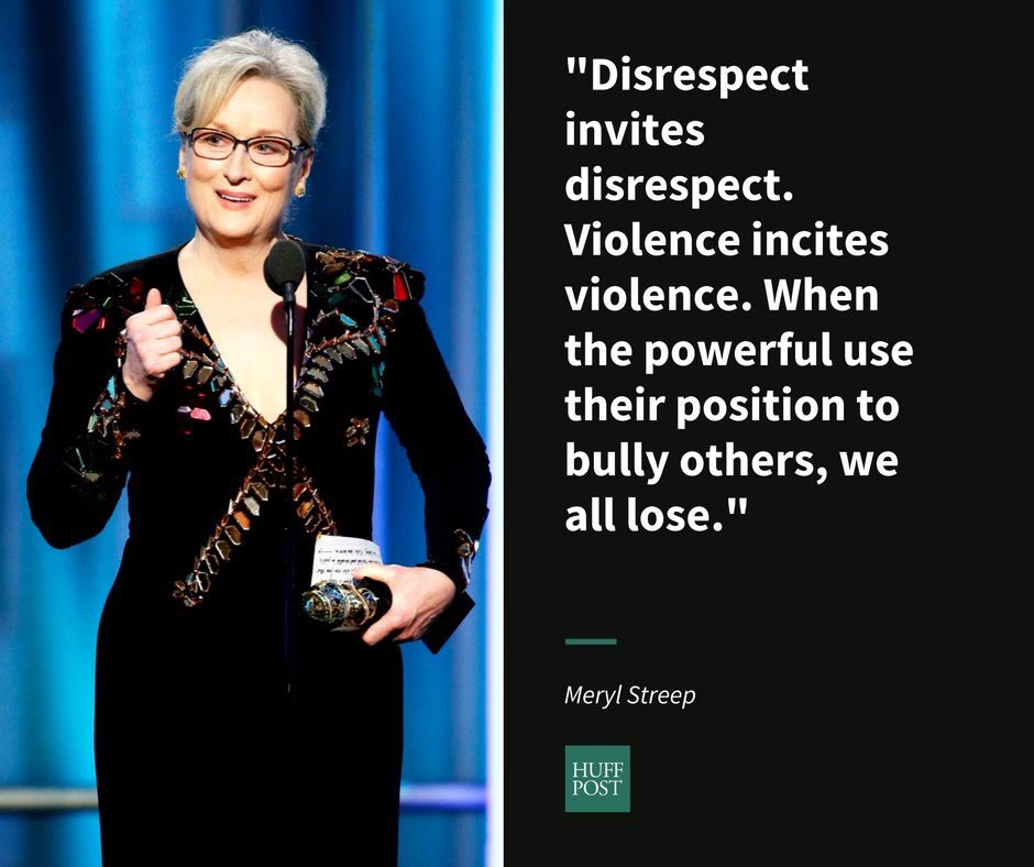 Pure Class!  Bravo #MerylStreep for saying what we are all feeling!  #GoldenGlobes https://t.co/jTXyOUpKap