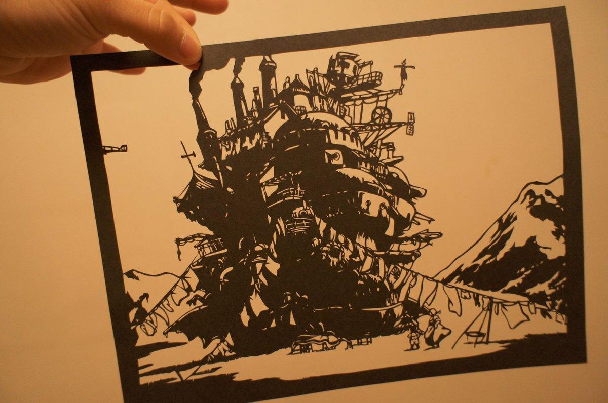 たまには女の子以外の絵が切りたいなぁと思ったので、今日はハウルの動く城 #切り絵