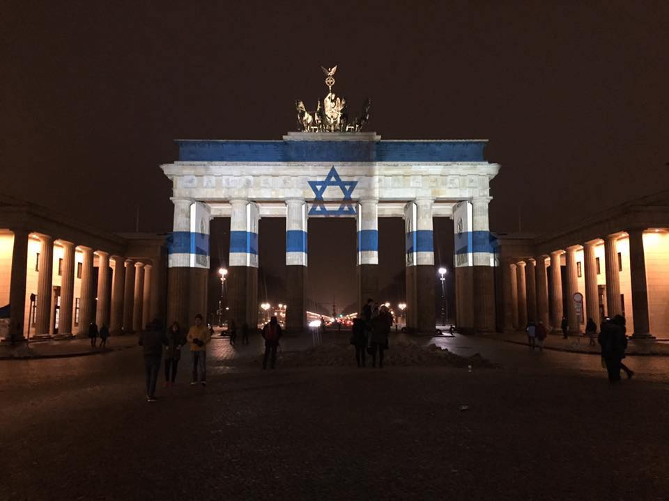 #Brandenburg Gate in #Berlin lit up as a flag of #Israel. Thanks #Germany for standing with us against #terror.