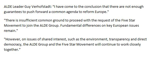 The full @GuyVerhofstadt statement on rejecting Five Star/Beppe Grillo approach to @ALDEgroup https://t.co/6u5FhzRd3H