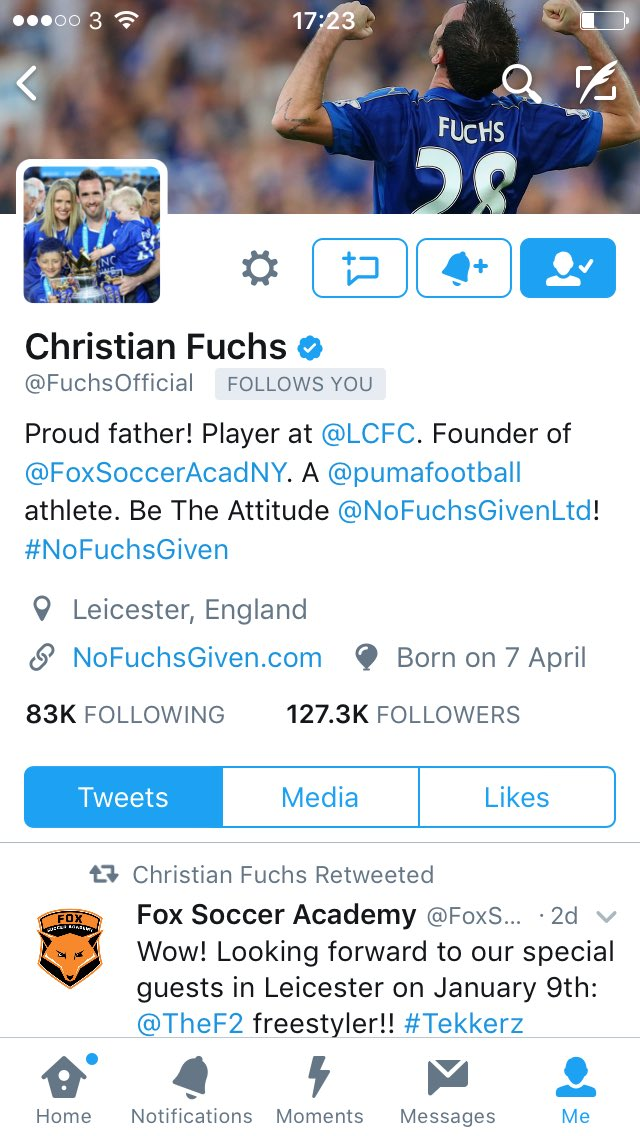 Who gives a Fuchs? We do! #NoFuchsGiven. That moment when a @premierleague champion follows you 😀💪👏😁#LCFC. https://t.co/dehwYaATWV